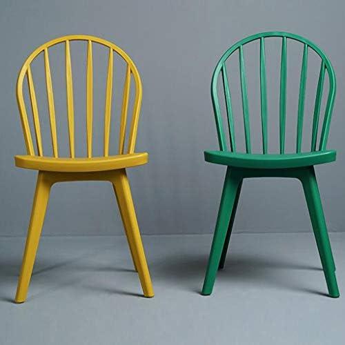 WRZ Tabouret à dossier creux simple nordique moderne et décontracté Chaise de salle à manger en plastique créative chaise salon salle à manger maison (couleur : jaune)