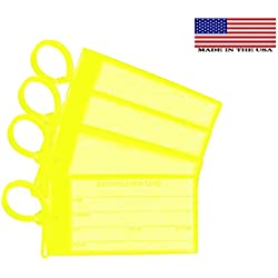 4 Yellow Luggage Tags - Made in USA