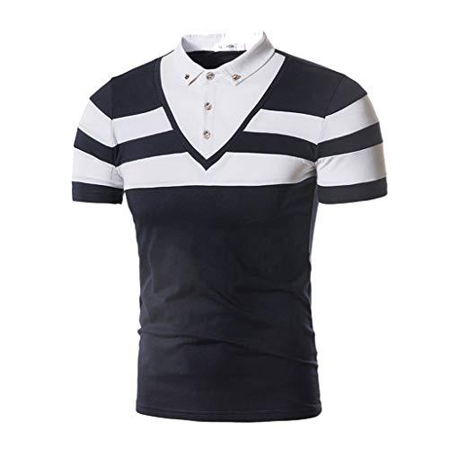 (POQOQ T Shirts Polo Tops Blouse Men's Short Sleeve Performance Polo Men's Big & Tall Golf Polo Mens Classic Fit Mesh Medium Gold Pony Polo Shirt S)
