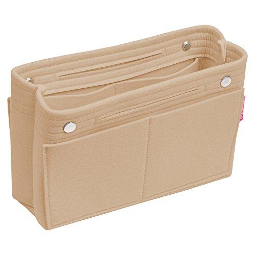 Best Handbag Organizer, Purse Organizer, Insert, Liner, Felt Structure Shaper, Large Narrow, Beige