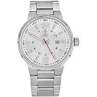 [Patrocinado] Nobel clásico Unisex reloj de pulsera con pulsera de acero inoxidable, plata/rojo–Ronda movimiento suizo