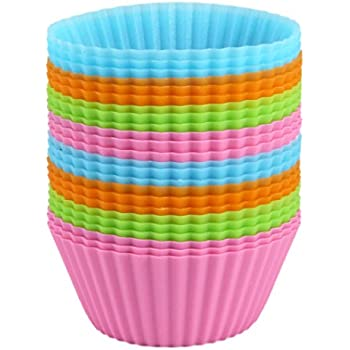 Bakerpan Silicone Standard Size Cupcake Holders, Cupcake Liners, Baking Cups, 24 Pack