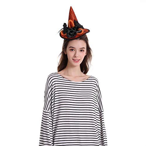 Sdsaena Halloween Witch Headband Hat with bat Accents, Purple and Orange, One Size Fits All, Orange/Purple (Orange)