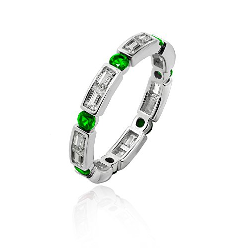 Diamonbliss Sterling Silver Created Gemstone Baguette & Round Cut Ring-Emerald, Size 10