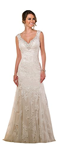 Elley Women's V-Neckline Lace Applique Straps Sleeveless Court Train V-Back Wedding Bridal Gown Ivory ()