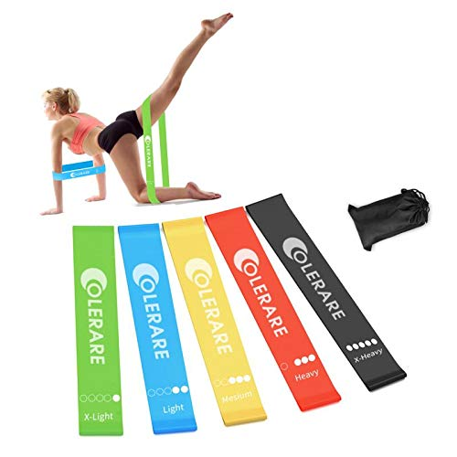 Colerare Resistance Loop Exercise Bands for Home Fitness, Stretching, Strength Training, Physical Therapy, Natural Latex Workout Bands,Crossfit, Pilates Flexbands,Set of 5