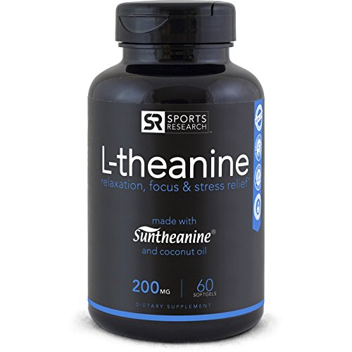 Suntheanine® L-Theanine 200mg (Double-Strength) in Cold-Pressed Organic Coconut Oil; Non-GMO & Gluten Free - 60 Liquid Softgel, Made in USA