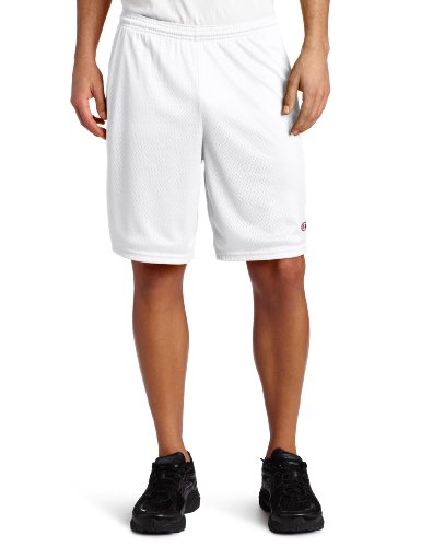 Champion Men's Long Mesh Short with Pockets,White,Large