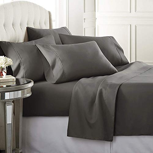 Wamsutta Sunrizer Bedding 625-Thread Count 100% Egyptian Cotton 18 Inch Drop Length King Sheet Set in Dark Grey ()