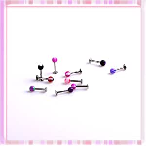 Come 2 Buy - 20 Assorted Mix Colours Ball Lip / Tragus / Monroe Bars - 16GA 8 x 1.2MM Body Jewellery - Body Bars