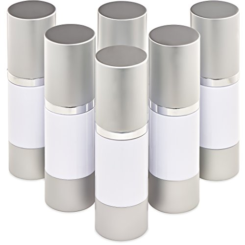 (White Airless Vacuum Pump Travel Bottles Refillable- 1 oz (Set of 6))