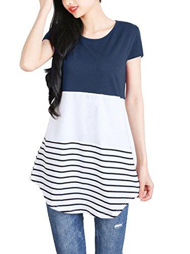 Bleu05 DSUK Bouton Courtes plisse Manches Floral Shirt Manches Longues Tee Tunique ZqZrv