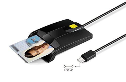 Type C Smart Card Reader Saicoo DOD Military USB-C Common Access CAC Card Reader, Compatible Windows (32/64bit) XP/Vista/ 7/8/10, Mac OS X by saicoo