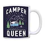 RV Camping Gifts for Women Camper Queen Camping Cup RV Living Gifts Retro RV Coffee Mug Tea Cup Multi