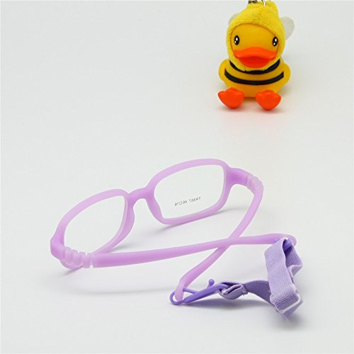 EnzoDate Children Glasses Frame Size 4616 with Strap No Screw 4-6Y (purple)
