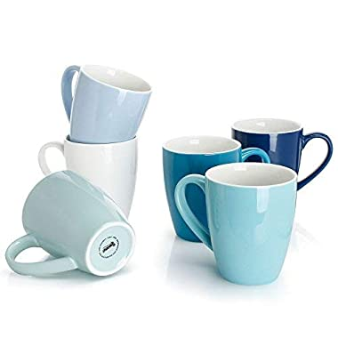 Sweese 6203 Porcelain Mugs - 16 Ounce for Coffee, Tea, Cocoa, Set of 6, Cold Assorted Colors