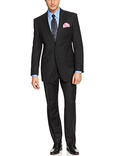 YSMO Men's Suits Black Pinstriped Two Button with Flat Front Pants