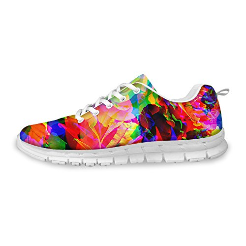 FOR U DESIGNS Shiny Bright Floral Print Walking Casual Athletic Comfort Running Shoes Women Sneakers US - Sneakers Bright