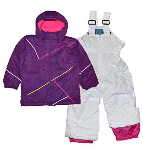 (Pulse Little Girls' 2 Piece Snowsuit Set Insulated Cut Copy (Small (4/5), Purple White))