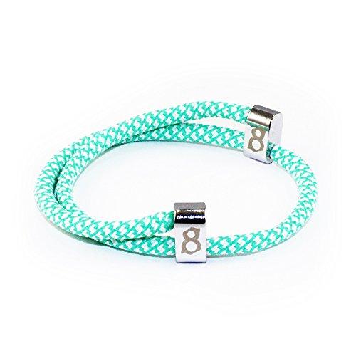 st8te Men's & Women's Rope Bracelets - White/Green Rope (Silver Slider)