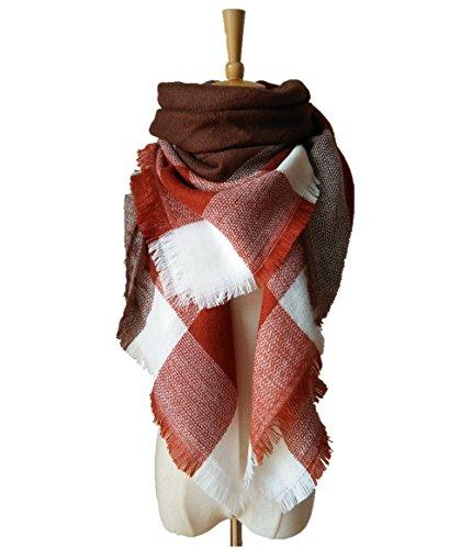 ZOMOY Women's Scarf Scarves Tartan Plaid Blanket Long Shawl Big Grid Winter Warm (Coffee)