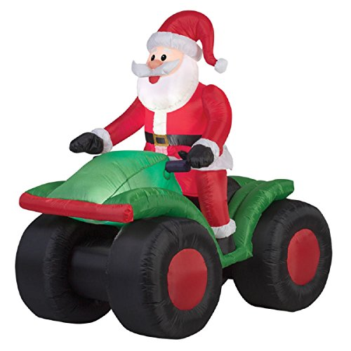 Christmas Inflatable Animated Santa On 4 Wheeler ATV By Gemmy