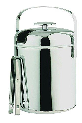 APS Eiseimer mit Edelstahl Eiszange, Eisbehälter Ø14 cm, Höhe 22 cm, 1,3 Liter, edler Kunststoffmantel, hochglanz verchromt
