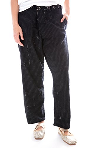 Pinstriped Wool Devereux Trousers with Hand Stitch