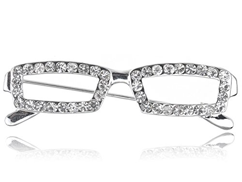 Alilang Silver Tone Clear Crystal Colored Rhinestones Rectangle Nerdy Glasses Brooch Pin