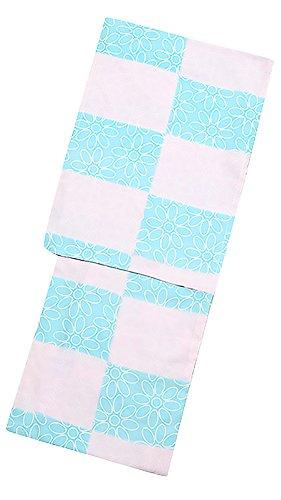 異邦人手つかずの積極的に[ KIMONOMACHI ] オリジナル 浴衣2点セット「ピンク×水色 スクエアにフラワー」