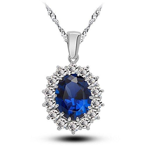(Blue Swarovski Elements Crystal Pendant Necklace for Women.)