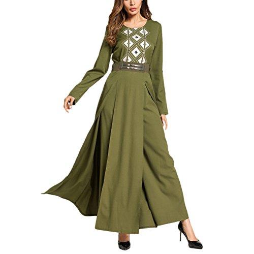 Musulmano Kimono Donne Lunghi Lunghi Kaftan Lusso Tunica Elegante Verde Abito di Abiti Ladies Wear Party TAAMBAB per qwXEHH