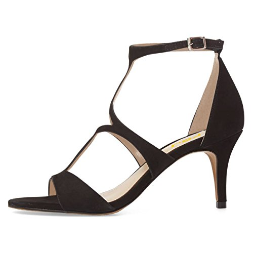 68a82970157 FSJ Women Strappy Open Toe Sandals Low Heels Caged Cutout Faux Suede  Comfortable Shoes Size 4 ...