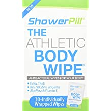 ShowerPill Athletic Body Wipes, 10 Count