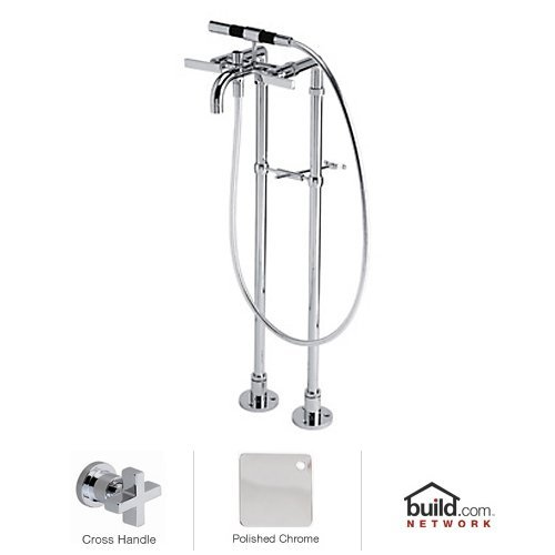 Rohl BA420X-APC Modern Floor Mount Exposed Tub Filler Faucet with Floor Legs, Hand S, Polished Chrome ()