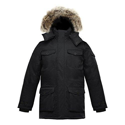 Triple F.A.T. Goose SAGA Collection | Eldridge Mens Parka Jacket (3XL, Black) - Coyote Fur Parka