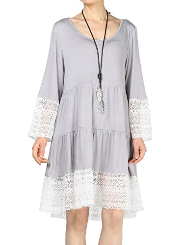 Mordenmiss Women's Flared Tunics Dress Lace Trim Boho Shirts with Side Pockets L Light Gray