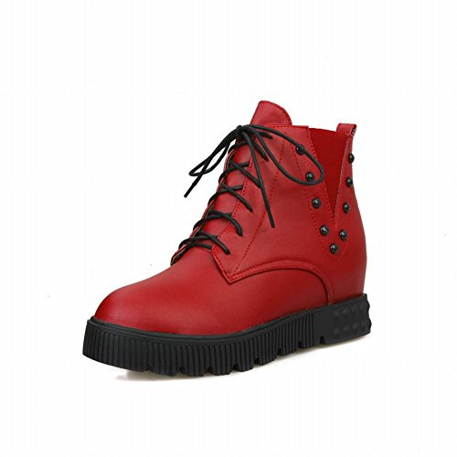 Carolbar Femmes De La Mode Cloutés Lacer Up Casual Confort Wedge Caché Talon Cheville Bottes Rouge