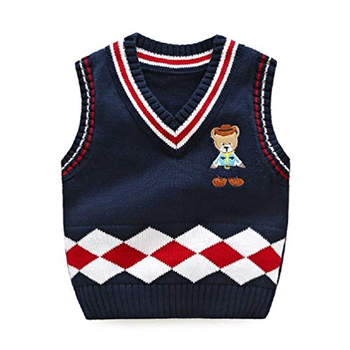 Goodkids Boys Baby Gentle Cable Knit Sweater Vest Toddler Stripe Embroidered Bear Warm Waistcoat (Navy 110) ()