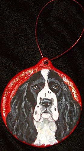 English Springer Spaniel Christmas Ornament Custom Hand Painted
