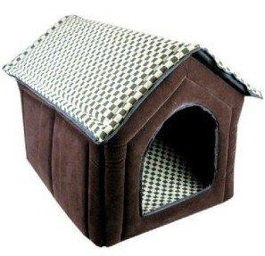 Pet Dog House Large Dog Bed Cat Bed Soft-brown Grid (63 x 56 x 52 CM)