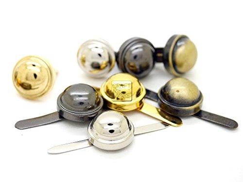 CRAFTMEmore Round Purse Feet Dome Layer Nailheads Spike Handbag Prong Studs 15MM 25 pcs (Gunmetal) - Gunmetal Dome Studs