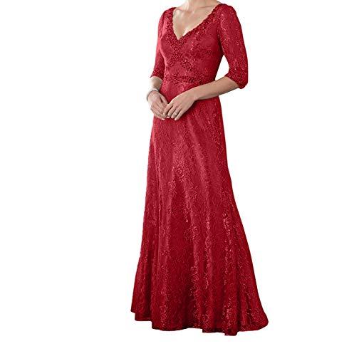 mit Charmant 4 Langarm 3 Brautmutterkleider Rot Abendkleider Festlichkleider Neu Ballkleider Dunkel Lang Grau Damen Spitze grq0Zg