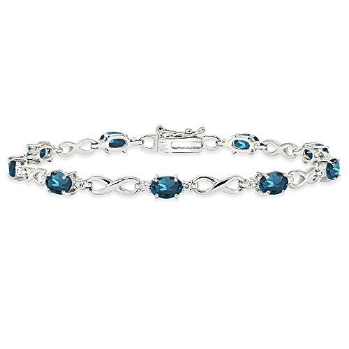 Sterling Silver London Blue Topaz Oval Polished Infinity Classic Tennis - Blue Bracelet Topaz Pendant