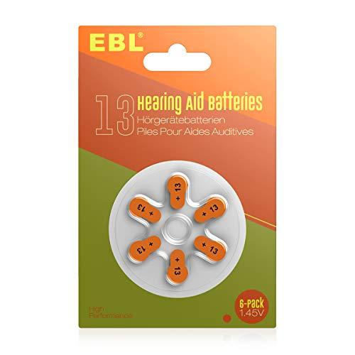 EBL Hearing Aid Batteries Size 13 Merry-Free 60 Counts - Orange Tap 13 Batteries