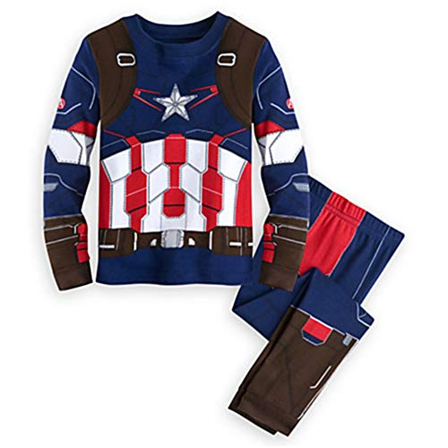 Captain America Pajamas,Captain America Pajamas Boys 100% Cotton Clothes Cartoon Sleepwears Blue