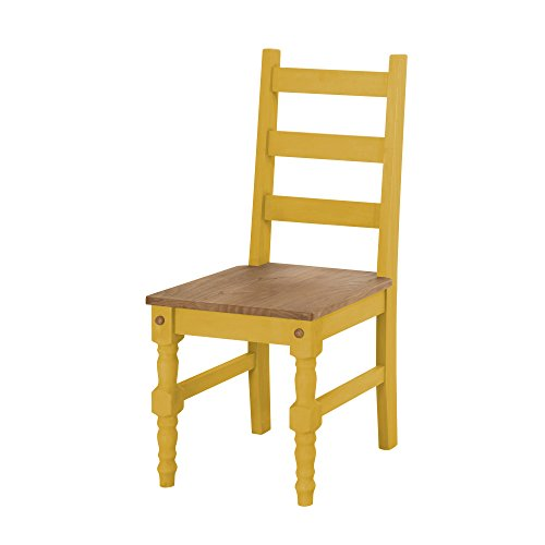 Manhattan Comfort Jay Collection Traditional Wooden Dining Chair With Trim Finish, Yellow/Wood