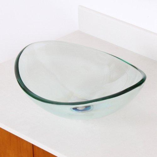 Pedestal Elite Vanity (Elite Transparent Tempered Glass Oval Bathroom Vessel Sink)