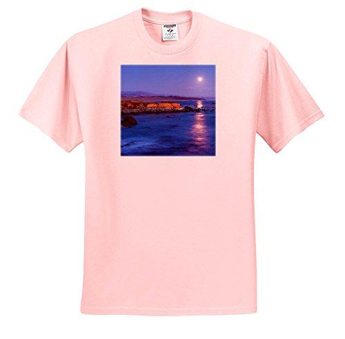 3dRose Danita Delimont - Oceans - Full Moon Shining On The Ocean, San Simeon, California - T-Shirts - Youth Light-Pink-T-Shirt XS(2-4) (TS_278640_43) (San Two Light Simeon)