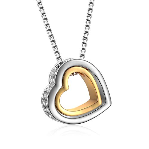 Ellevera Double Love Heart Shape Pendant Necklace Crystal Two-Tone Heart Necklaces,16+1